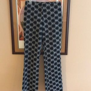 Cache Embroidered Pants Size 6 Black/White